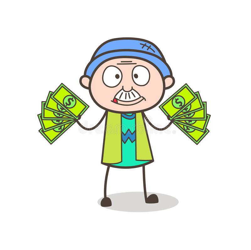 Abuelo codicioso de la historieta que muestra el ejemplo del vector del dinero stock de ilustración