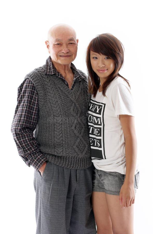 Abuelo con su nieta fotos de archivo