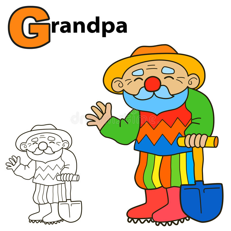 Abuelo de la historieta Página del libro de colorear stock de ilustración