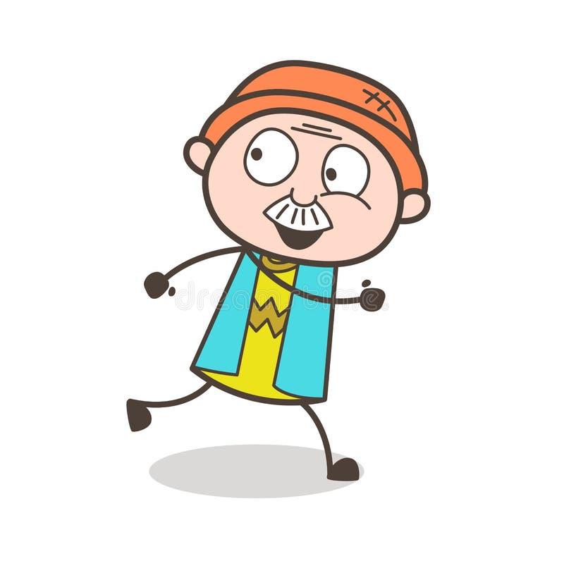Abuelo de la historieta que corre feliz el ejemplo del vector stock de ilustración