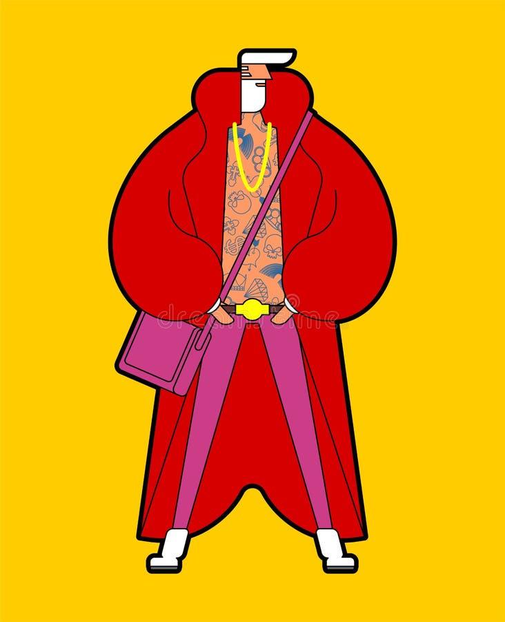 Abuelo de Santa Claus Stylish Fashionable New Year Cadera de moda ilustración del vector