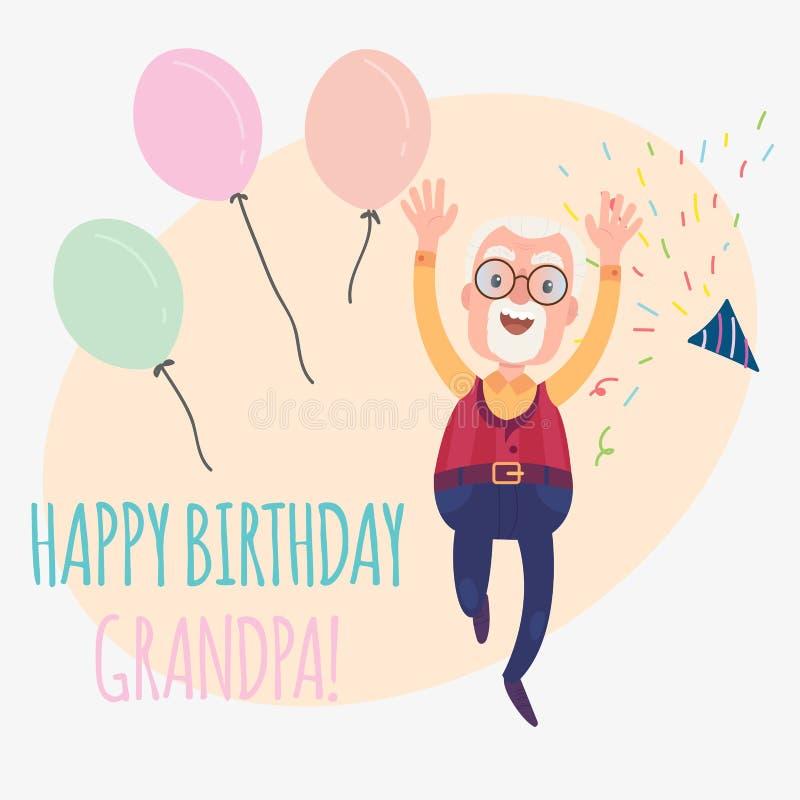 Abuelo del feliz cumpleaños stock de ilustración