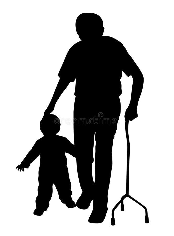 Abuelo discapacitado que camina con el niño stock de ilustración