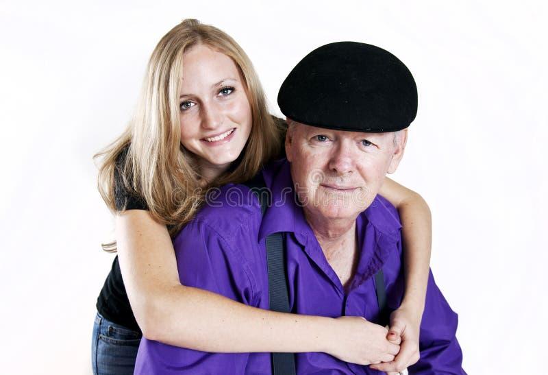 Abuelo feliz y Grandaughter fotos de archivo