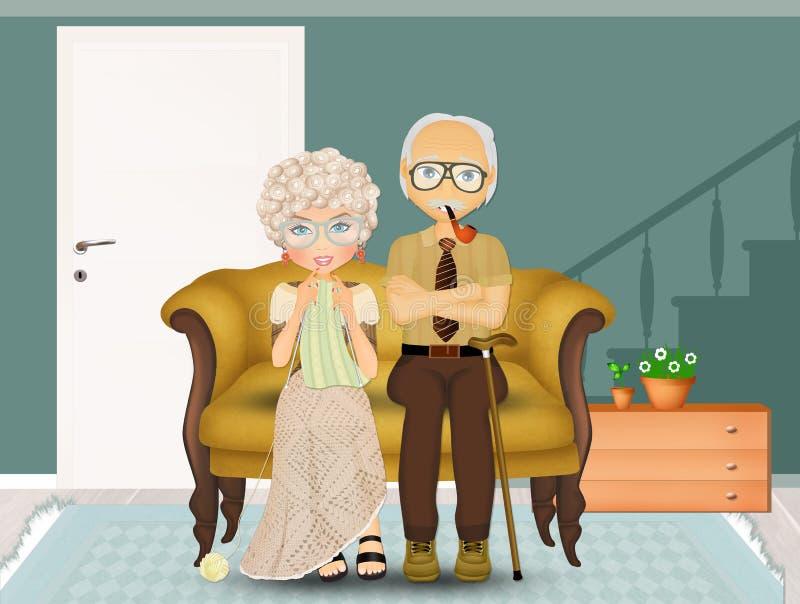 Abuelo o abuela en el sofá ilustración del vector