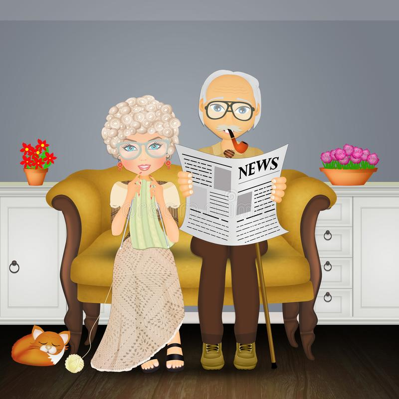Abuelo o abuela en el sofá libre illustration