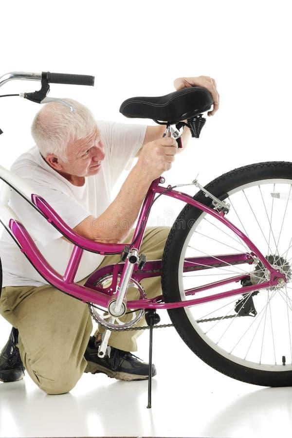 Abuelo que ajusta Granddaughter& x27; bici Seat de s fotografía de archivo