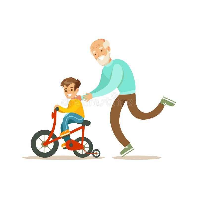 Abuelo que corre detrás de la bicicleta del nieto, familia feliz que tiene buen ejemplo del tiempo junto stock de ilustración