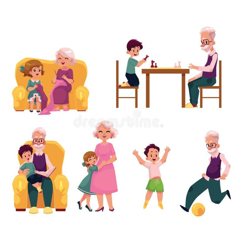 Abuelo que pasa tiempo con los nietos ilustración del vector