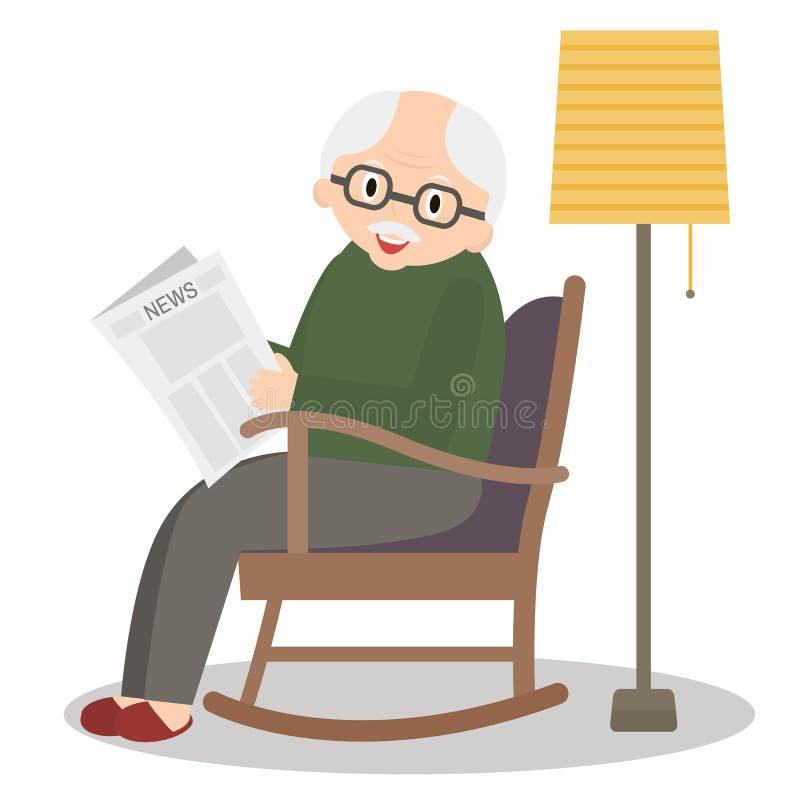 Abuelo que se sienta en mecedora Tiempo libre del viejo hombre Periódico de la lectura del abuelo Hombre mayor lindo en el país V