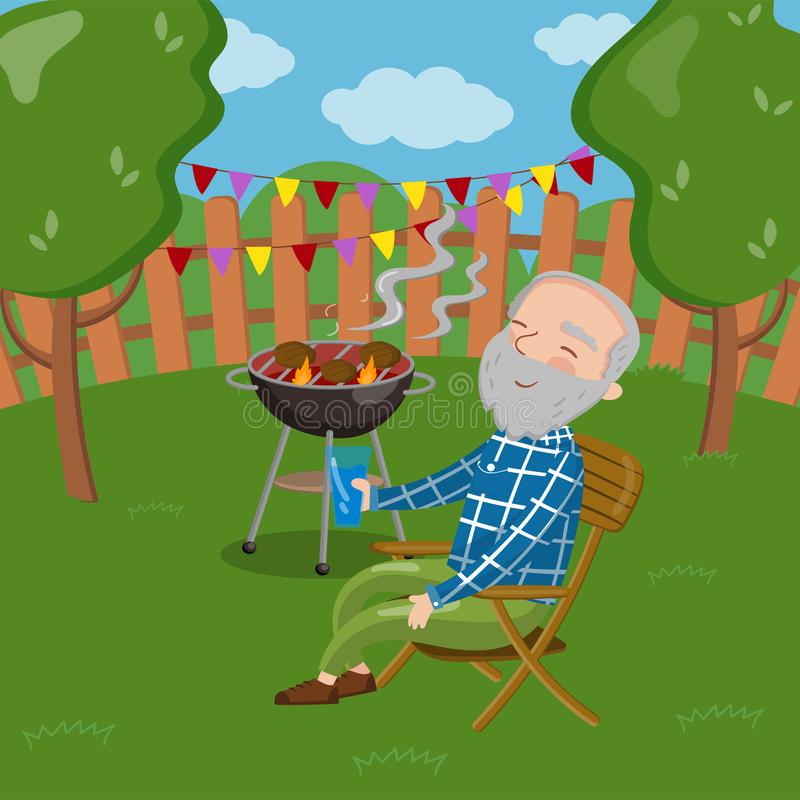 Abuelo sonriente feliz que asa a la parrilla el exterior de la barbacoa mientras que se sienta en la silla, hombre mayor que tien ilustración del vector