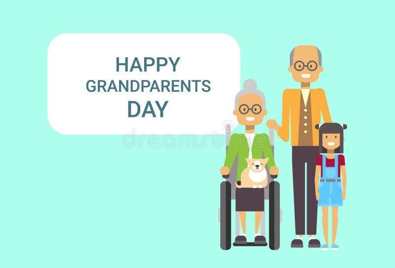 Abuelo y abuela felices de la bandera de la tarjeta de felicitación del día de los abuelos con el nieto junto ilustración del vector