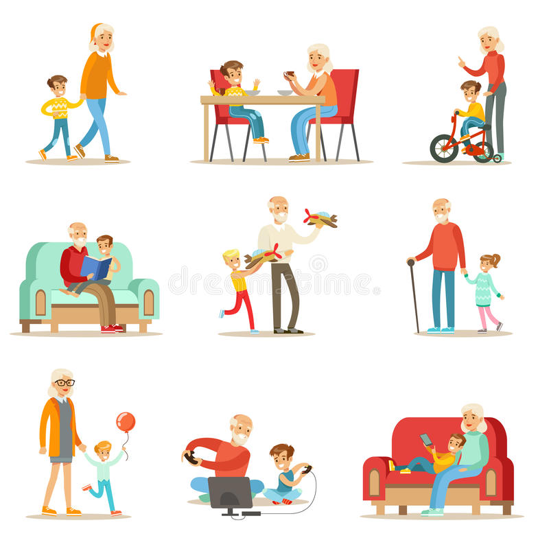 Abuelo y abuela que pasan el tiempo que juega con los nietos, los pequeños muchachos y las muchachas con sus abuelos fijados ilustración del vector