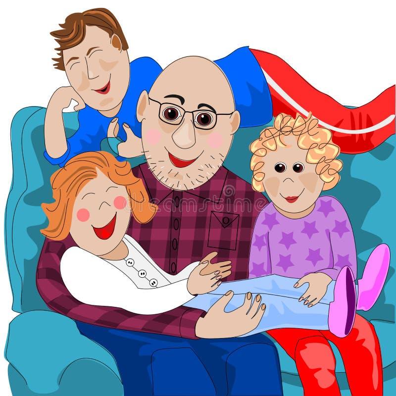 Abuelo y niños magníficos stock de ilustración