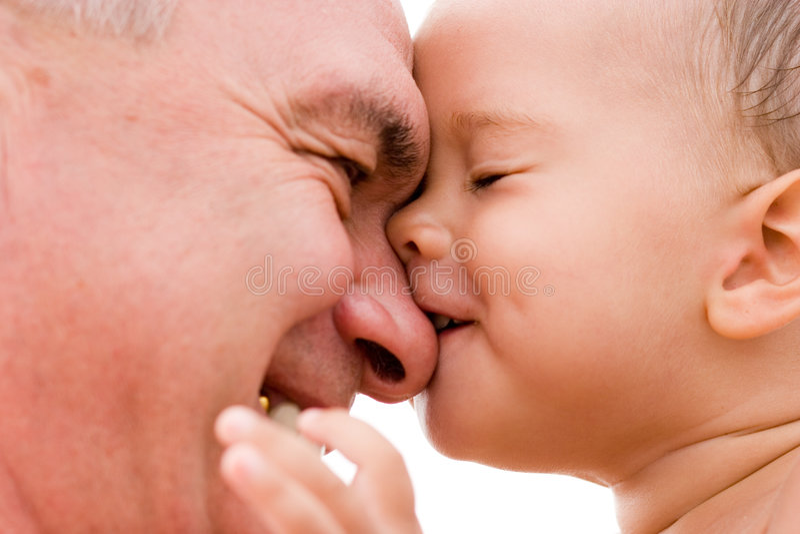Abuelo y nieto imagen de archivo