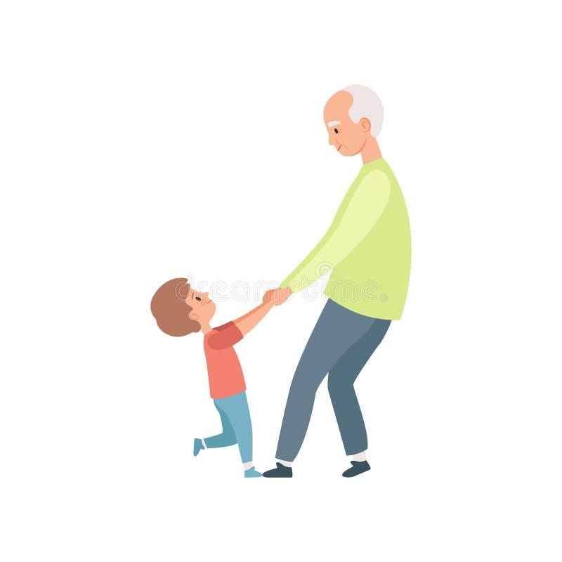 Abuelo y su pequeño nieto que llevan a cabo las manos, abuela que pasa el tiempo que juega con el ejemplo del vector del nieto en stock de ilustración