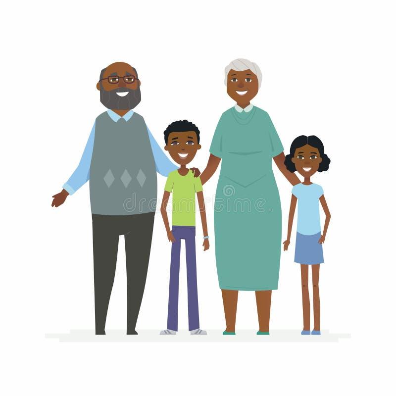 Abuelos africanos felices - los caracteres de la gente de la historieta aislaron el ejemplo libre illustration
