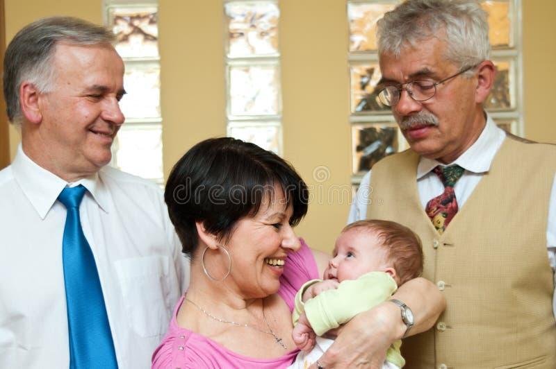 Abuelos con el bebé foto de archivo libre de regalías
