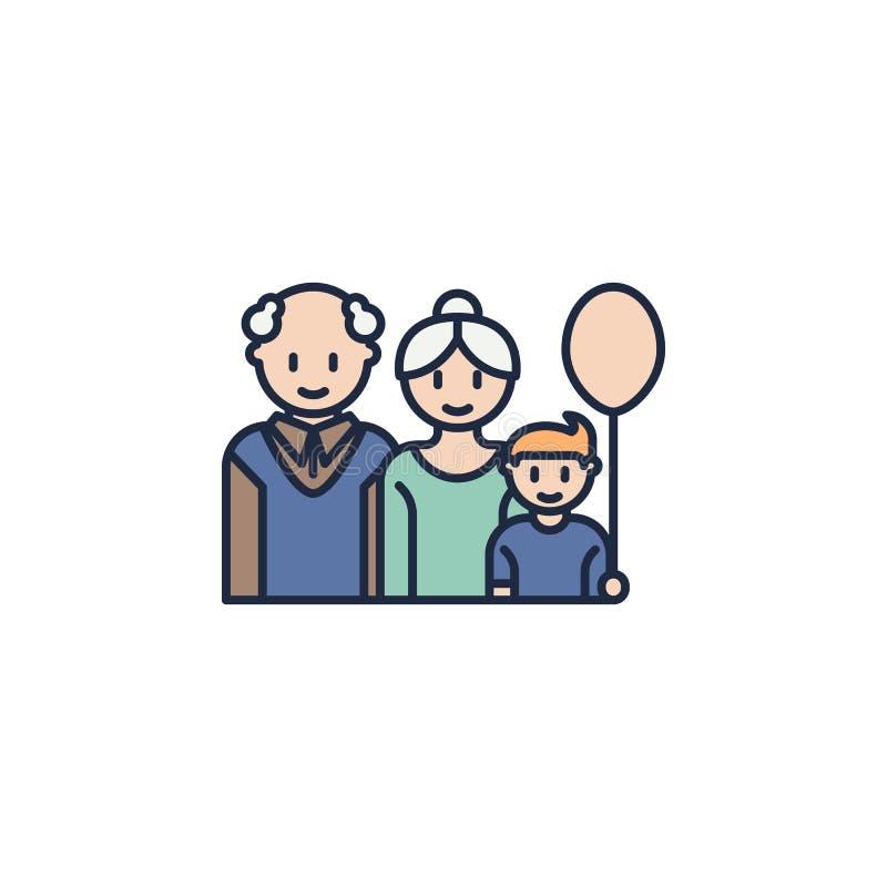 abuelos con el icono coloreado nieto Elemento del icono de la familia para los apps móviles del concepto y del web Abuelos colore libre illustration