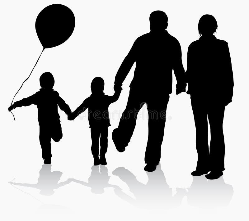 Abuelos con las siluetas de los nietos libre illustration