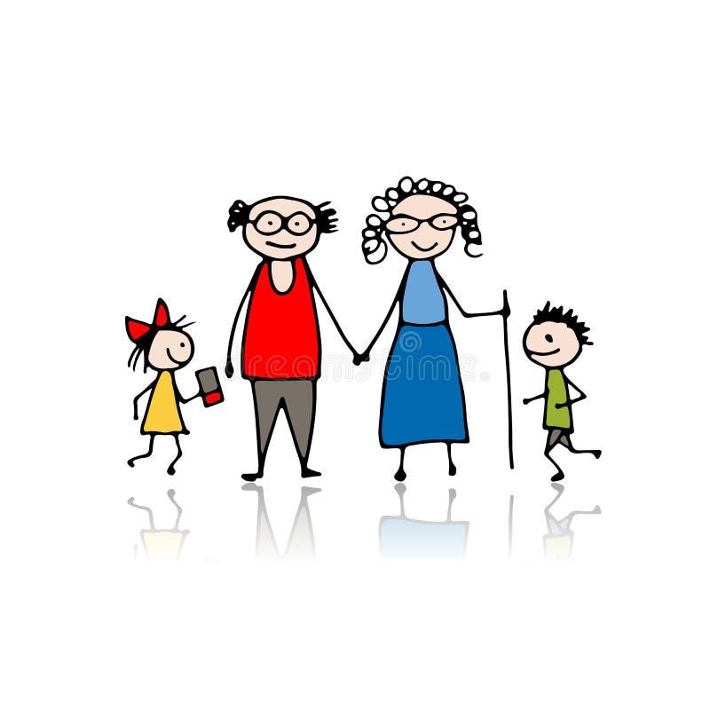 Abuelos con los nietos, bosquejo para su diseño libre illustration