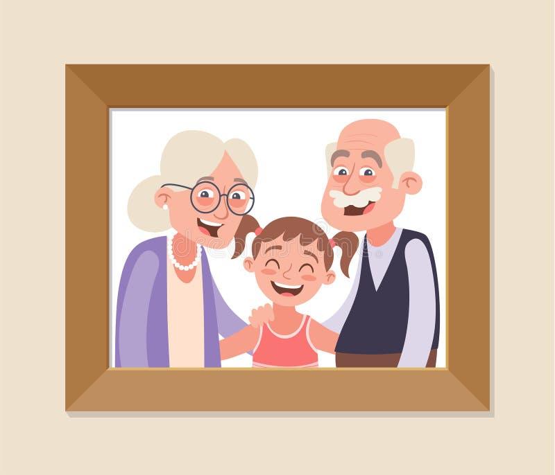 Abuelos Con Su Marco De La Foto De La Nieta Stock de ilustración ...