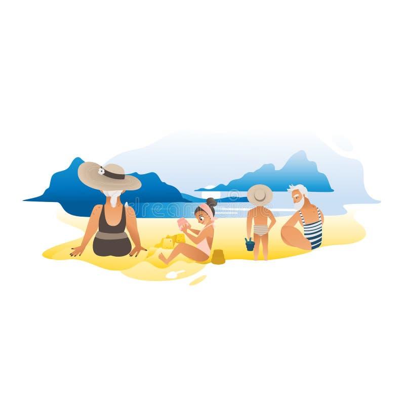 Abuelos con sus nietos en el ejemplo plano del vector de la playa libre illustration
