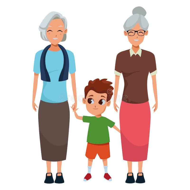 Abuelos de la familia e historietas del nieto ilustración del vector