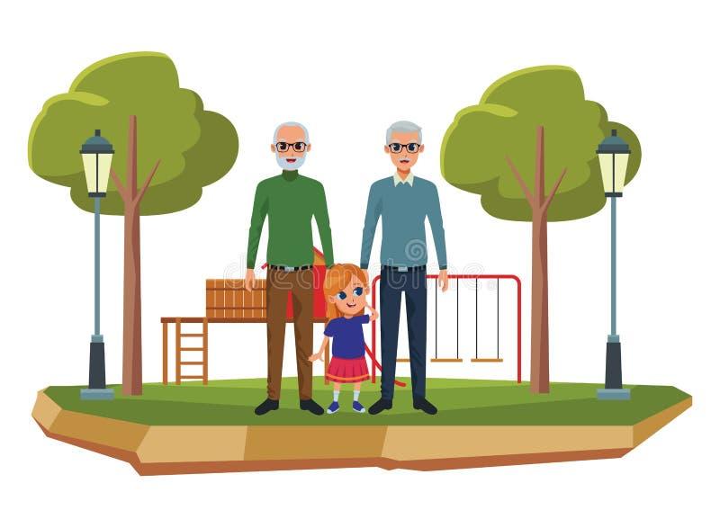 Abuelos de la familia e historietas de los nietos libre illustration
