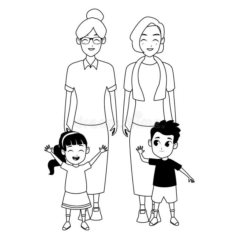 Abuelos de la familia e historietas de los nietos en blanco y negro ilustración del vector