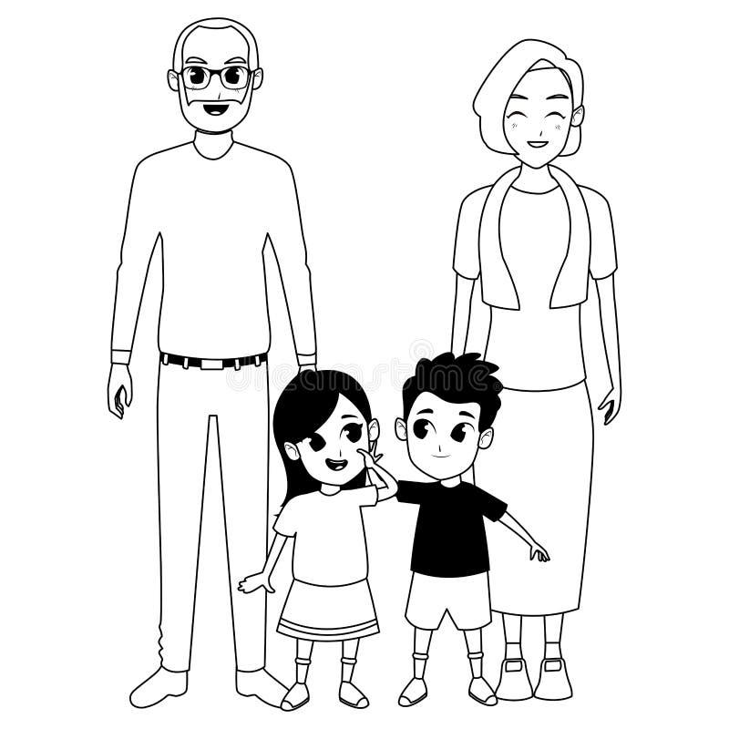 Abuelos de la familia e historietas de los nietos en blanco y negro stock de ilustración