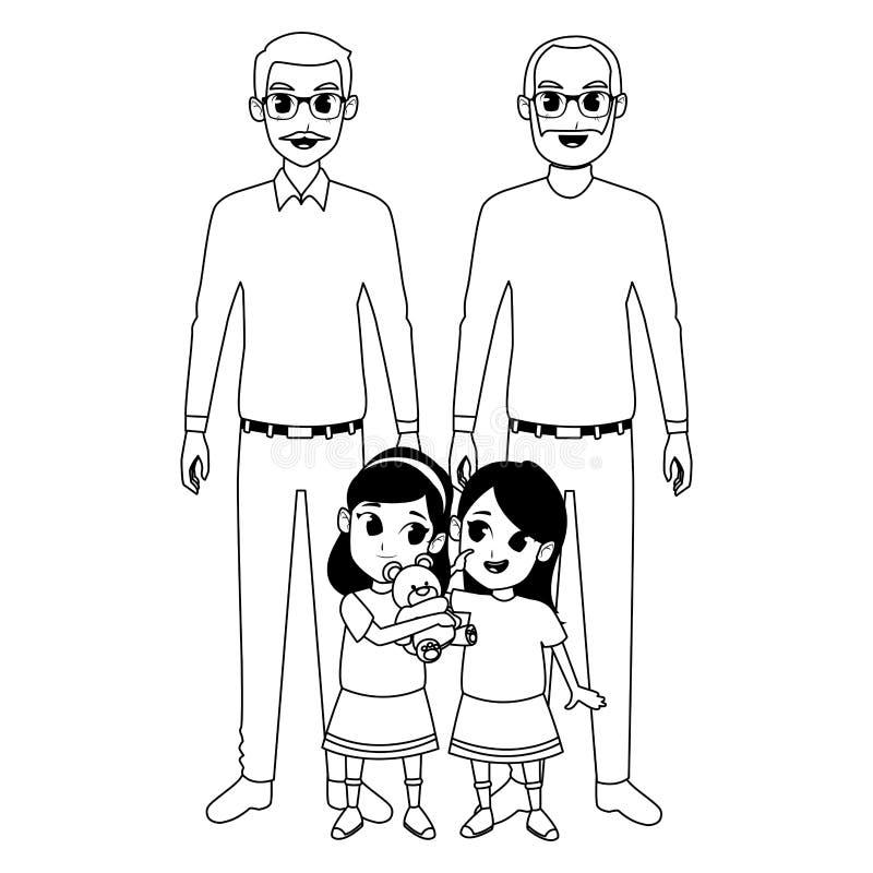 Abuelos de la familia e historietas de los nietos en blanco y negro libre illustration