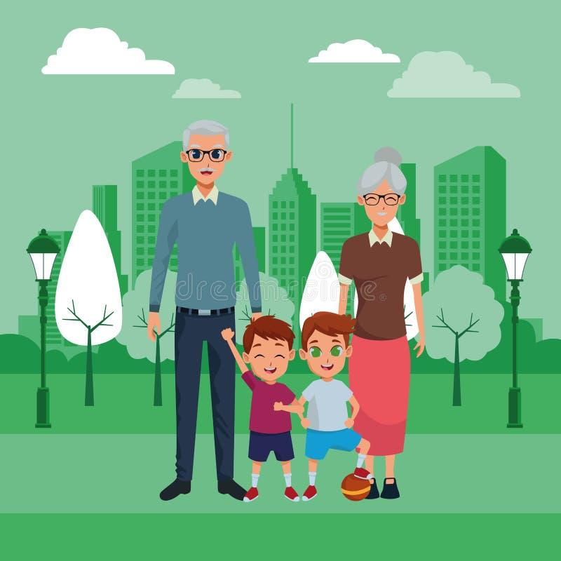 Abuelos de la familia e historietas de los nietos stock de ilustración