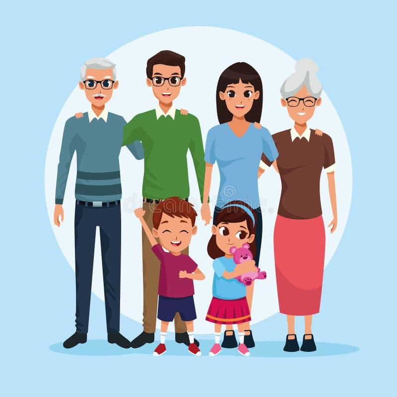 Abuelos de la familia, padres e historietas de los niños libre illustration