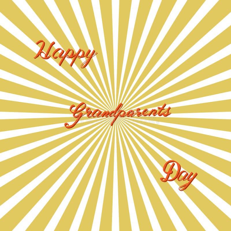Abuelos felices día, letras dibujadas mano, vector stock de ilustración