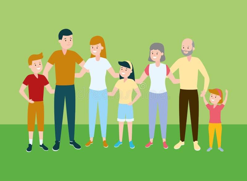 Abuelos felices de los niños de los padres de la familia libre illustration