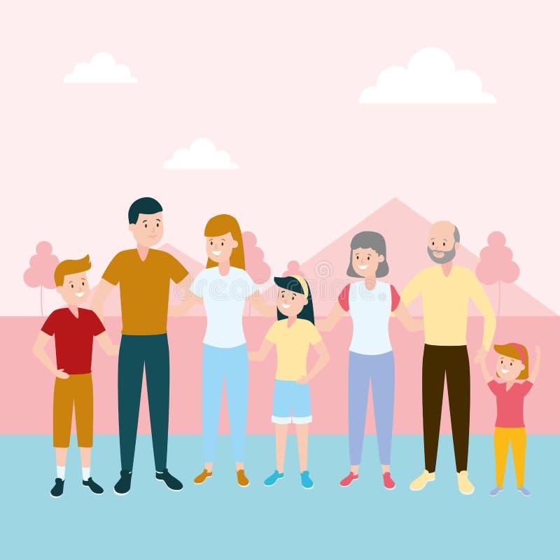 Abuelos felices de los ni?os de los padres de la familia stock de ilustración