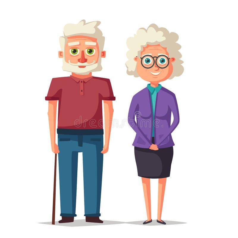 Abuelos felices Ilustración de la historieta del vector Día de los abuelos ilustración del vector