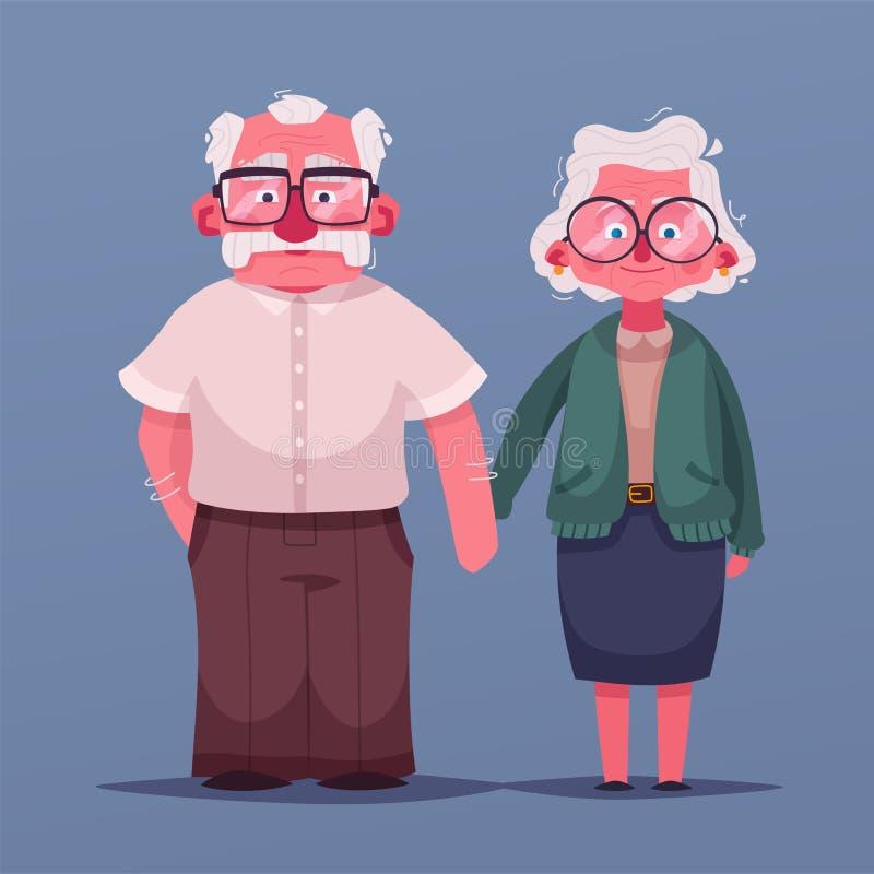 Abuelos felices Ilustración de la historieta del vector Día de los abuelos stock de ilustración