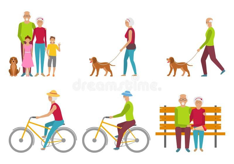 Abuelos felices Pares mayores Pensión Liasure Jubilación libre illustration
