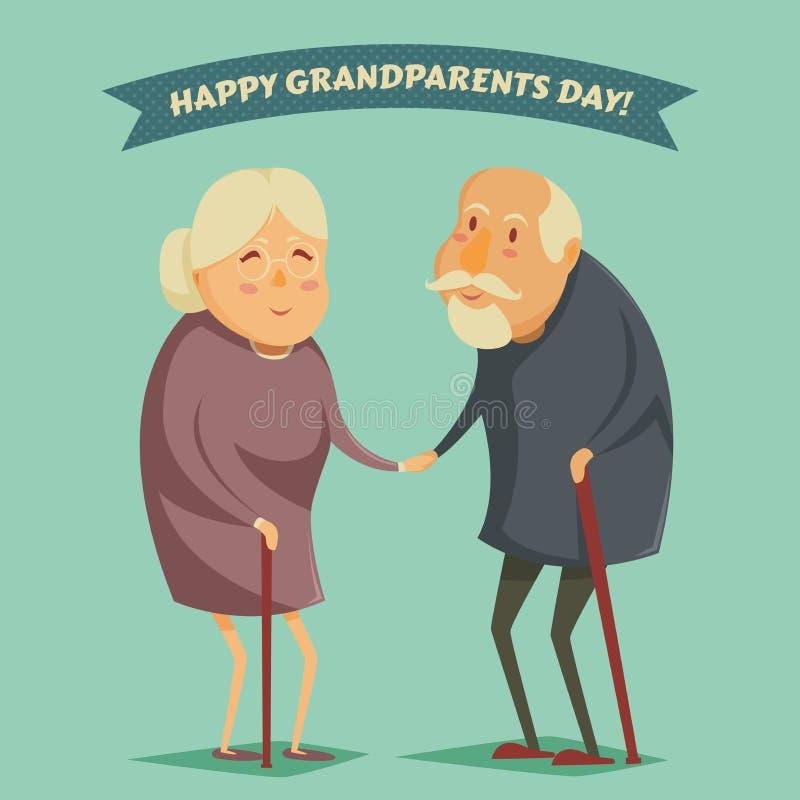 Abuelos felices que llevan a cabo las manos Cartel feliz del día de los abuelos stock de ilustración