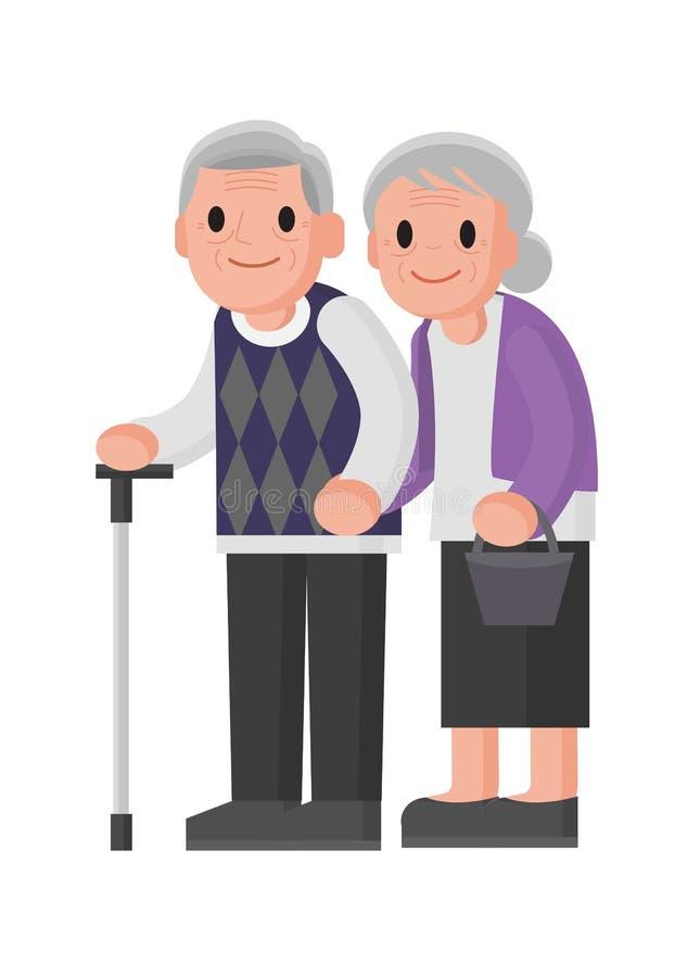 Abuelos felices Situación mayor de los pares sonrisa mayor de los pares stock de ilustración