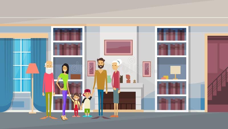 Abuelos grandes de la familia, padres, dos niños en interior moderno de la sala de estar del hogar de la casa stock de ilustración
