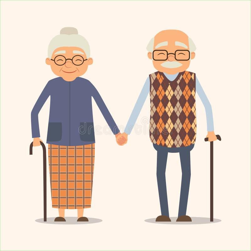 Abuelos, imagen del vector de pares felices en estilo de la historieta ilustración del vector