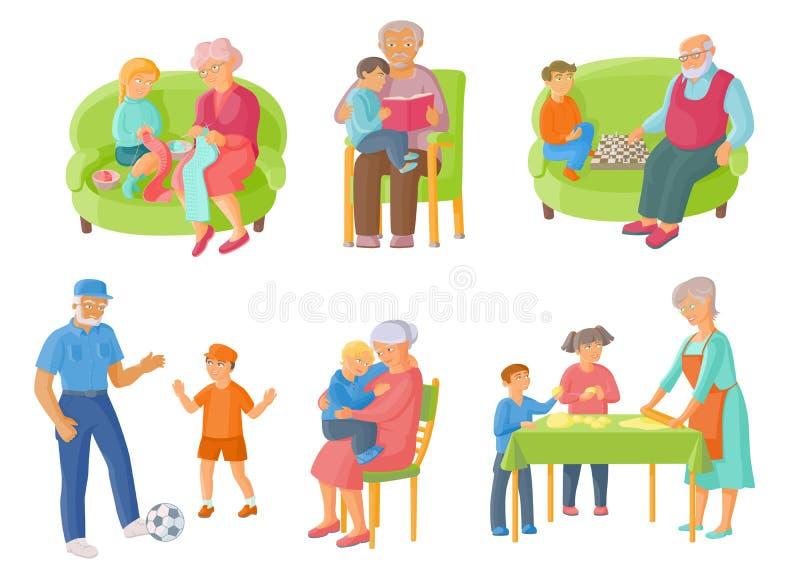 Abuelos, nietos que pasan el tiempo junto stock de ilustración