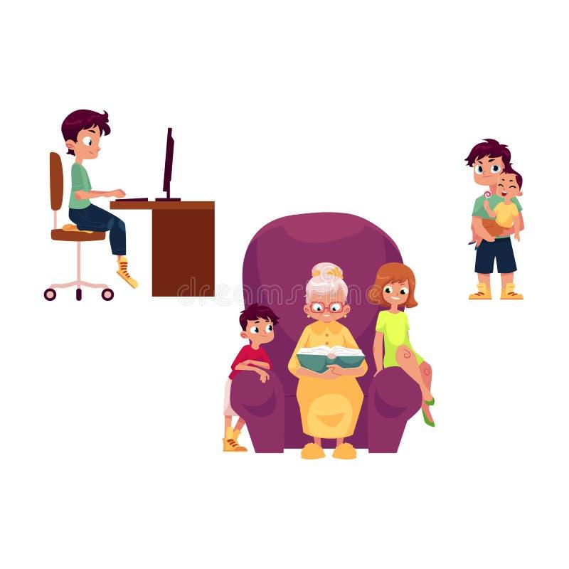 Abuelos planos y niños del vector fijados stock de ilustración