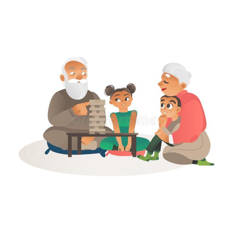 Abuelos que juegan a juegos con el ejemplo plano del vector de la historieta de los nietos libre illustration