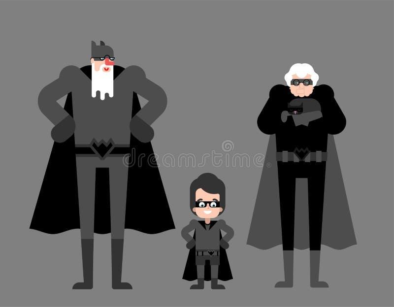 Abuelos y nieto del super h?roe Abuelo estupendo en capa y m?scara Viejo hombre de las superpotencias Historieta del abuelo y de  ilustración del vector