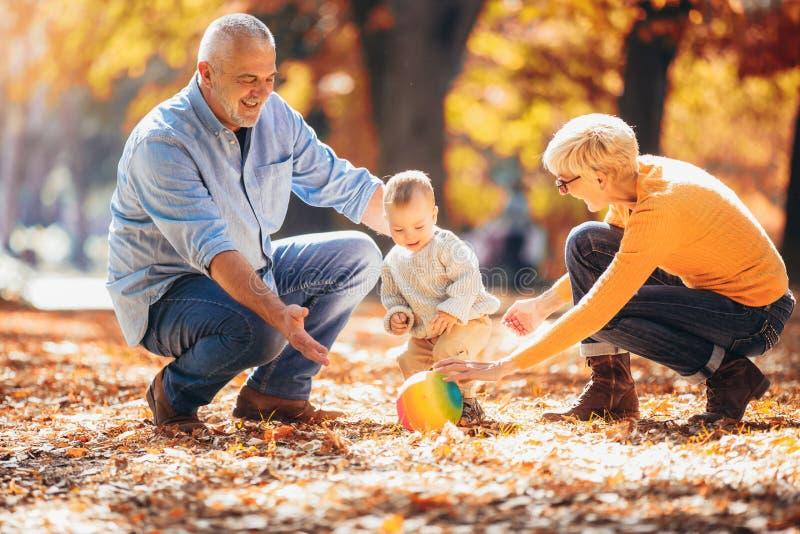 Abuelos y nieto junto en parque del oto?o fotografía de archivo