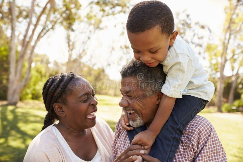 Abuelos y nieto que se divierten en parque junto fotos de archivo